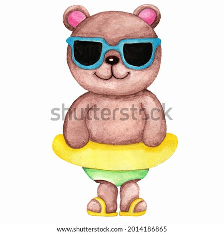 watercolor illustration of a cute brown bear with a yellow inflatable circle on a white background