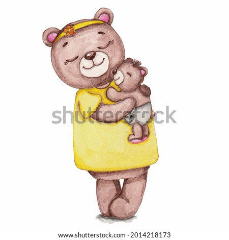Watercolor illustration of a cute brown baby bear with his mother on a white background