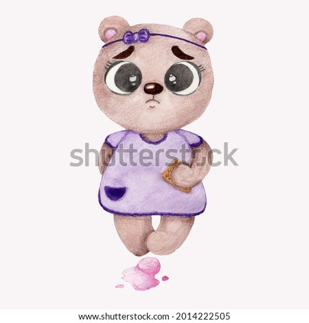 Watercolor illustration of a cute brown sad bear with ice cream in a purple dress on a white background