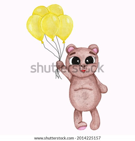 Watercolor illustration of a cute brown bear with yellow air balloons on a white background