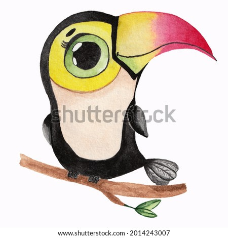 Watercolor illustration of a cute toucan on a branch on a white background