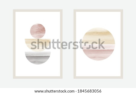Hand painted watercolor art minimal style design for wall decoration