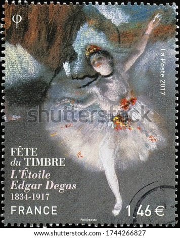 Milan, Italy - May 19, 2020: Beatiful painting by Edgar Degas on a stamp
