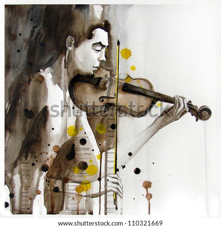 Illustrated portrait of young man with violin   handmade   self made