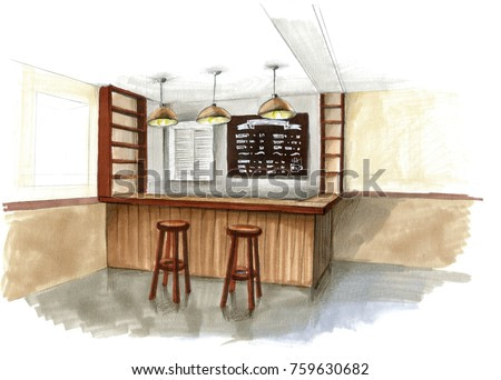 watercolor sketch of a brown bar counter in a cafe