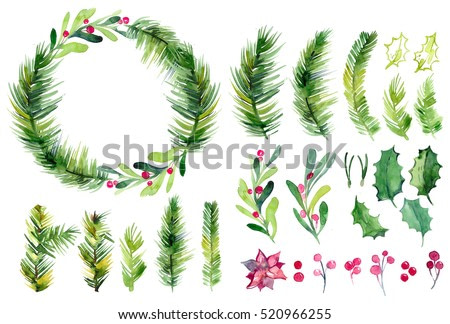 Watercolor Christmas set wih spruce branches, mistletoe branches, flower and berries  on a white background isolated