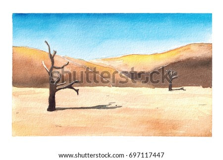Watercolor hand drawn illustration of Landscape desert with dune and dead trees art