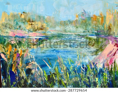 Colorful auroral lake landscape. Nature background, Modern abstract painting, Oil on canvas