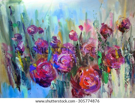 Peony flowering shrub, modern paintings, oil on canvas, expressive art picture, abstract landscape, contemporary art