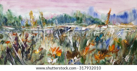 Blooming field, meadows landscape. Painting, pictorial art