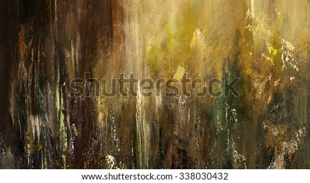 Golden autumn. Fall forest colors. Painting, pictorial art