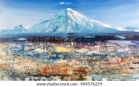 Japan, city near the volcano, mountain chain peak landscape, oil on canvas, watercolor painting, modern contemporary art
