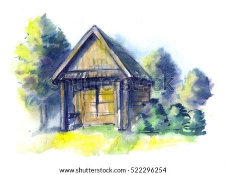 Watercolor hand drawing illustration with rural landscape, nature, old wooden barn for horses, trees. Impression wallpaper in bright colors rural landscape, countryside