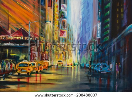 Water color painted New york street with night club shops taxi cabs and all different stuff during night life