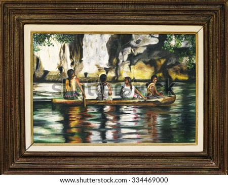 Painting with four Indians in a boat on the river Amazonas