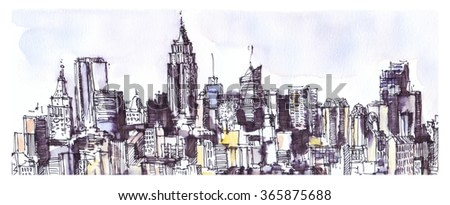New York city panorama. Watercolor, ink graphic. Architecture