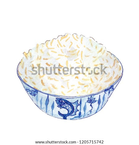 Watercolor bowl of rice isolated on white background. Hand drawn bowl of tasty hot fresh asian (chinese, japanese, vietnamese, cambodian) rice. Food in blue bowl with fish on it.