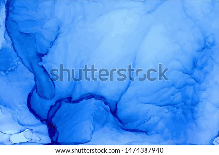 Ethereal ink abstract blue vector background. Azure overlapping watercolor splashes, stains texture. Resin art sapphire backdrop. Aquarelle painting effect wallpaper. Watercolour ultramarine overflow