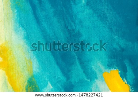 Turquoise and lemon watercolor background. Decorative paintbrush smears wallpaper. Hand drawn yellow and blue ombre, brush gradient strokes. Freehand painted splashes, brushstrokes, smears, stains.
