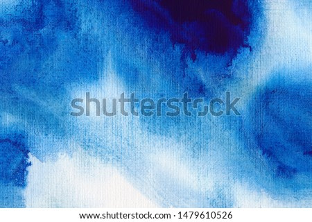 Ultramarine blue watercolor wallpaper. Hand drawn paintbrush swabs raster illustration. Vintage expressionist painting. Aquarelle brush strokes, touches, drops and spots drawing background.