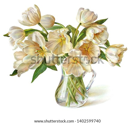Bouquet of luxurious white tulips in a jug. Isolated on a white background. Botanical illustration. Watercolor painting.