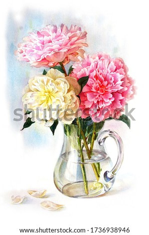 Luxurious peonies in a jug on a white background. Print on the wall. Watercolor painting.