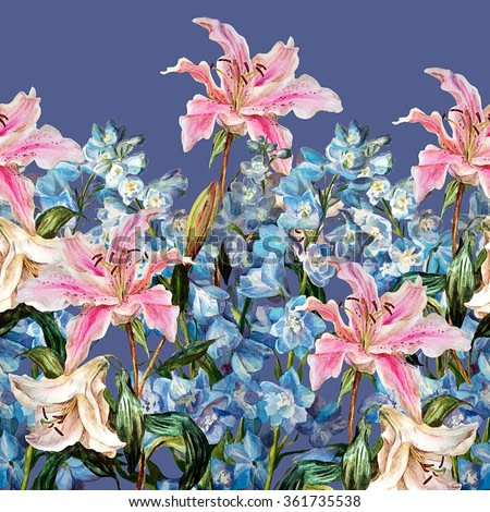 Floral horizontal border. Lilies and delphiniums, isolated on a lavender background. Watercolor painting.