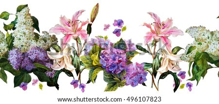 Floral horizontal border. Hydrangea, lilac, lily on white background. Watercolor painting.