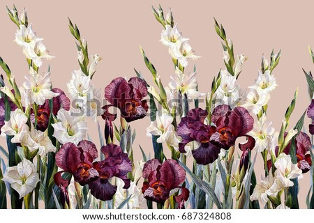 Floral horizontal seamless border.Irises and gladioluses,  on lilac  background. Watercolor painting.
