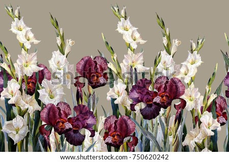 Floral horizontal seamless border.Irises and gladioluses,  on  light gray background. Watercolor painting.
