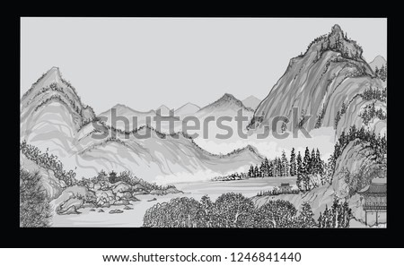 Chinese landscape with mountain and clouds in the style of old chinese painting