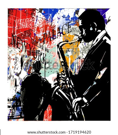 Jazz band in New-York - vector illustration (Ideal for printing on fabric or paper, poster or wallpaper, house decoration)