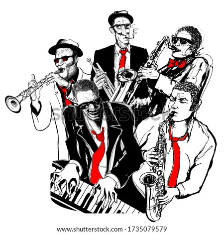 Jazz musicians playing trumpet, piano and saxophone - vector illustration (Ideal for printing on fabric or paper, poster or wallpaper, house decoration)