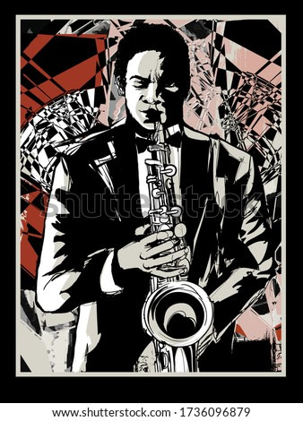 Afro american jazz musician playing saxophone - vector illustration (Ideal for printing on fabric or paper, poster or wallpaper, house decoration)