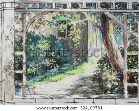 Hand drawn sketch with pergola. View from the window to the sunny landscape. Contrasting landscape with bright light and shadows.