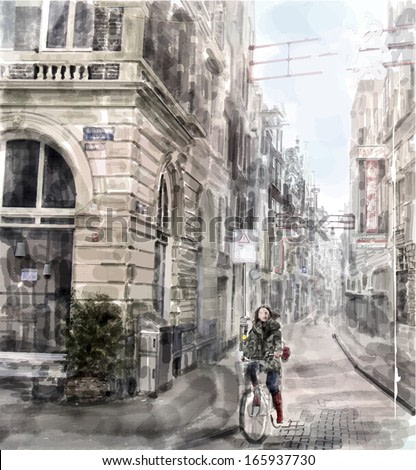 Illustration of city street.  Girl  riding on the bicycle. Watercolor style.