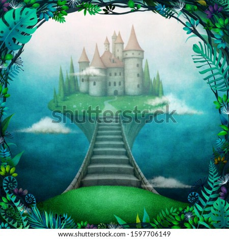Conceptual magic background with  castle in the clouds on  small island.