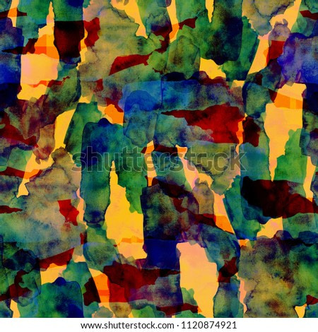 Seamless pattern of Colorful watercolor strokes for background