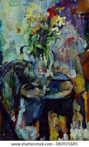 Oil painting still life with  flowers in a vase in bright colors in impressionist style On Canvas
