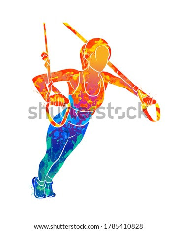 Abstract young sportive woman doing push-ups using trx fitness straps from splash of watercolors. Vector illustration of paints
