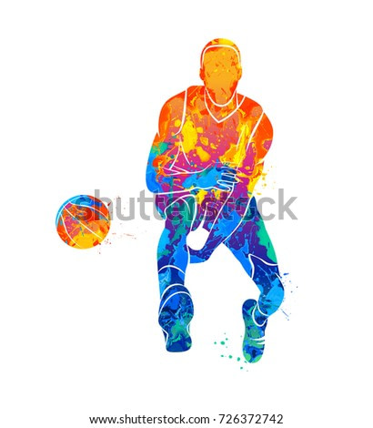 Abstract basketball player with ball from splash of watercolors. Photo illustration of paints.