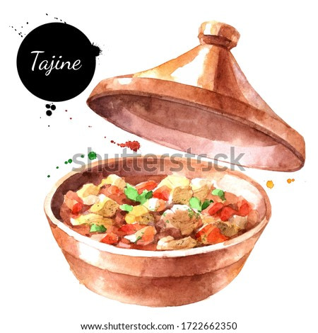 Watercolor illustration of tajine. Painted isolated marrakech traditional food on white background