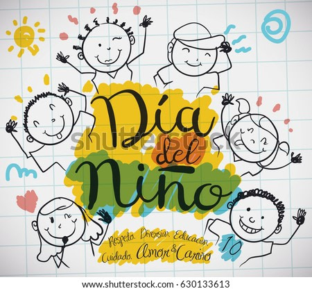 Poster with notebook paper and cute doodle drawing of happy kids and precepts to celebrate Children's Day (written in Spanish).