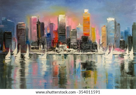 Sunrise behind a coastal city with boats on a water. Original oil painting.