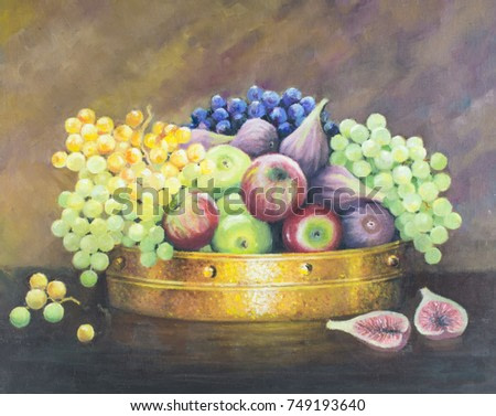 Original oil painting on canvas - Still life with fruit in copper pan on dark brown background. Red apples, green and blue grapes and figs.