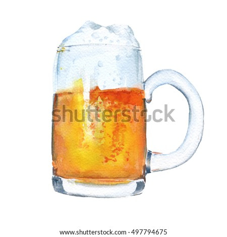Liter mug of beer. Isolated on a white background. Watercolor illustration.