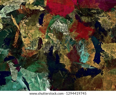 Abstract colored psychedelic grunge background with texture of chaotically blurred spots and paint strokes