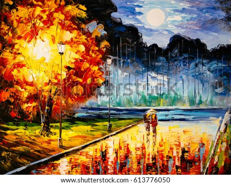 Oil Painting - Dating Tonight
