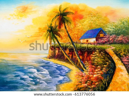 Oil Painting - Cabin by the sea