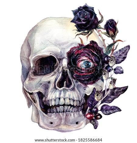 Watercolor Painting of Skull with Evil Eye and Black Rose Flowers, Berries and Leaves Isolated on White. Vintage Style Botanical Halloween Poster. Spooky Skull Gothic Wedding Floral Decoration.